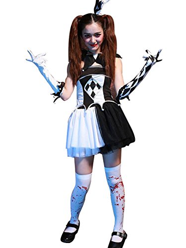 Zando Halloween da donna inquietante sexy clown travestimento costume cosplay Costume & Socks Etichettalia unica