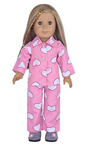 Ebuddy 2pc Cotton Heart Print Pajamas Including Top and Pants Pjs Fits 18 Inch Doll