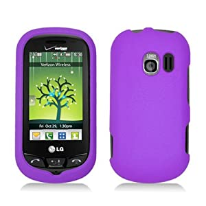 Purple Hard Plastic Case Cover for LG VN271 Extravert w/ Rubberized texture coating