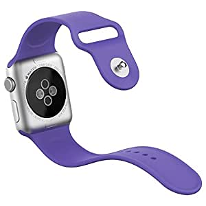 Apple Watch Band, JETech® Soft Silicone Replacement Sport Band for Apple Watch All 38mm Models (Silicone - Purple)