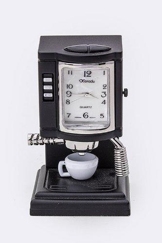 Karmas Canvas Coffee Maker Mini Clock (Black)