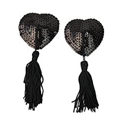 Refaxi® 1 Pair Black Lingerie Sequin Heart-shaped Tassel Breast Bra Nipple Cover Pasties