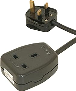 1 Gang Black Extension with 5m Lead Rubber Socket