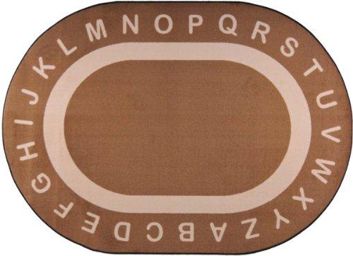 "Joy Carpets Kid Essentials Early Childhood Oval Endless Alphabet Rug, Mocha, 10'9"" x 13'2"""