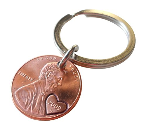 2009-penny-keychain-with-heart-around-year-hand-stamped-couples-keychain-7-year-anniversary