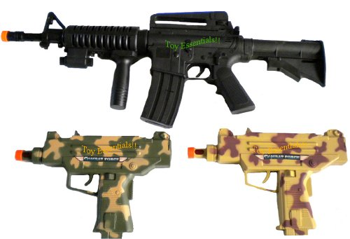 m 16 toy gun 3 pcs kids toy b o electronic army m16 uzi machine