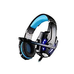 GuDenns PS4 PlayStation 4 cellphone Stereo gaming headset with Adjustable Headband and Microphone Mic LED Noise Isolation/In-line for Tablet iPhone PC gamers Wired Headphone