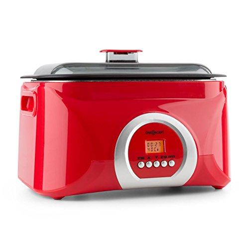 oneConcept Sanssouci - Cuiseur sous vide, slow-cooker pour cuisson lente et conservation des vitamines - cuve de 5l - 300 W - rouge