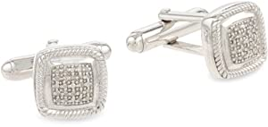 Men's Sterling Silver Cushion Diamond Cuff Links (1/10 cttw, I-J Color, I2-I3 Clarity)