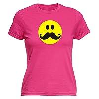 123t Slogans Women's SMILEY FACE MOUSTACHE DESIGN - FITTED T-SHIRT