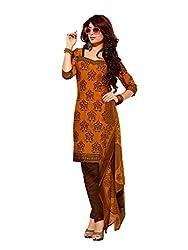 fabgruh Golden colour dress material