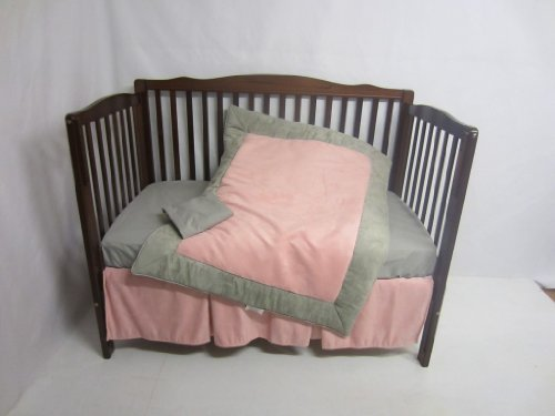 Baby Doll Zuma 4 Piece Crib Bedding Set, Grey/Pink