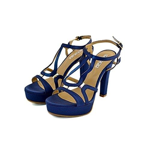 Decollete, sandali gioiello, Tiffi in raso blu, taglia: 36