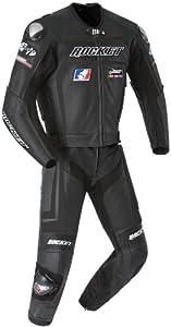 Joe Rocket Speedmaster 5.0 Men's Leather 2-Piece Motorcycle Race Suit (Black/Black, Size 44)