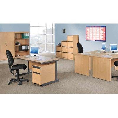 Maestro Straight C Frame Desk Size: 153.2cm, Finish: Beech