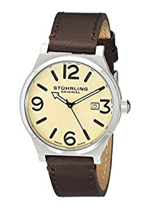 Stuhrling Original Men's 454.3315K15 Leisure Eagle Osprey Swiss Quartz Date Brown Leather Strap Watch