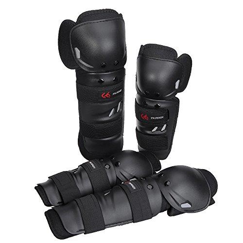 PHOENIX adulti ginocchio e parastinchi gomiti alto effetto protettivo per moto BMX MTB shin guards, Schwarz Stil 2, Adulti