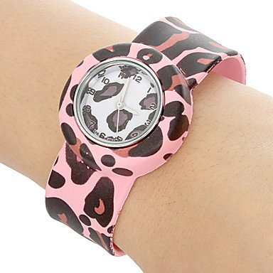 Watch Shout Children'S Leopard Print Pattern Bendable Plastic Band Slap Watch