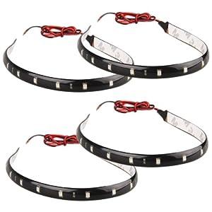4 strisce adesive 15 led flessibile impermeabile 30cm for Strisce led adesive