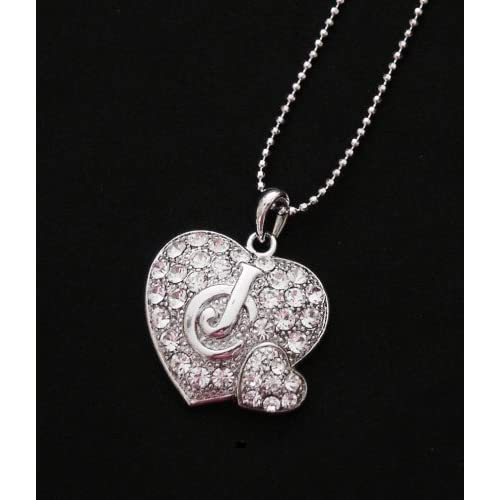 Juicy Look Crystal Double Heart White Gold Plated Necklace