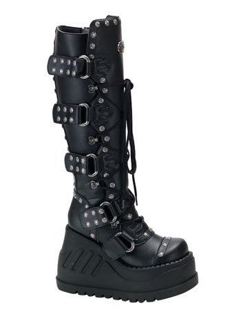 Cyberpunk, Cyber Goth Boots, Black Studded Buckle Lace Up Boot