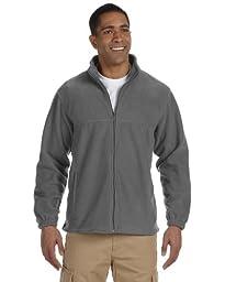 Harriton Men\'s 8 oz. Full-Zip Fleece, Charcoal, XL