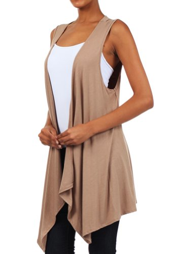 Modern Kiwi Open Asymmetrical Hem Vest Beige One Size