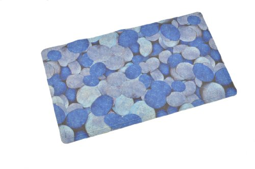 "ABELE (R) Design Non Slip Baby Kids Safety Shower Tub Bath Mat, Mildew Mold Resistant Bathmat, Rubber w/ Cloth Coating (Blue Pebble) 15.7"" X 27.5"""