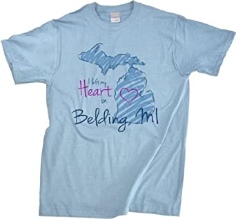 Buy I Left my Heart in Belding, MI Unisex T-shirt | Michigan Pride by Ann Arbor T-shirt Company
