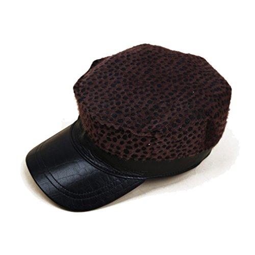 [Xinyian Unisex Octagonal Cap Cowhide Leather Driver Beret Hat Adjustable Leopard] (Leopard Cowboy Hat)