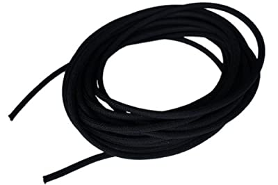 "1/4"" x 50' Black Shock Bungee Rubber Rope Cord - Woven Jacketed"