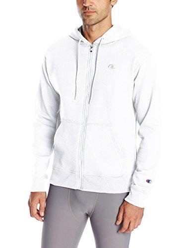 Champion Men's Powerblend Full Zip Hoodie, White, Small