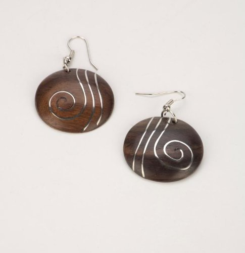 Brown spiral silver 30mm earrings coco wood wooden pair