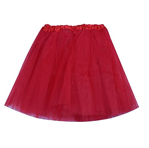 [SUNNYTREE Red Tutu for Women Party Tulle Dance Dress Ballet Wrap Skirt Red] (Make Poodle Skirt Costumes)