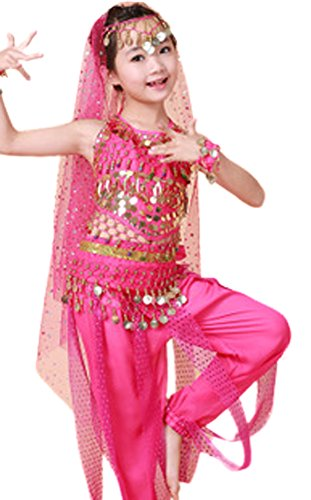 AvaCostume Girls Sequined Belly Dance Costumes Indian Style 6PCS