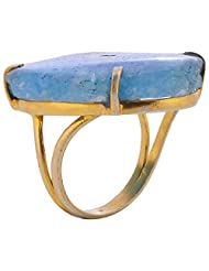 Gehna Mart Gold Plated Blue Solar Stone Gold Finished Ring For Women - B00TK85A1C