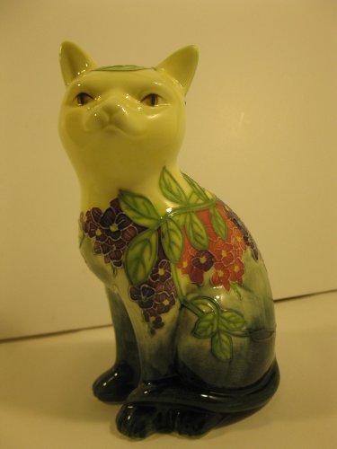 chat-assis-gm-15x9cm-en-porcelaine-peint-main-motif-fleurs-livre-avec-la-boite-cadeau