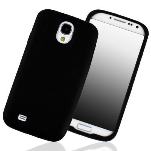 Samsung I9500 Galaxy S4 Case Silikon Soft Cover Bumper Schutz Hülle Displayschutzfolie matt Schwarz Black