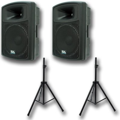 "Seismic Audio - Pws-15 (Pair) And Speaker Stands - 15"" Powered Pa Speakers With Tripod Speaker Stands"