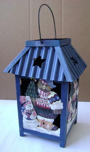 Christmas Teddy Bear Metal Lantern - Use  tea