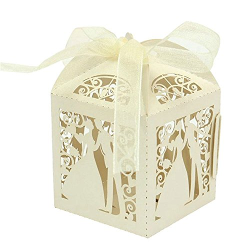 PONATIA 50pcs/Lot Colorful Bride and Groom Candy Box Paper Wedding Favors Candy Boxes Party Wrapper (Beige)