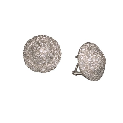 C.Z. PAVE ROUND CLIP RHODIUM PLATED (.925) STERLING SILVER EARRINGS (Nice Holiday Gift, Special Black Firday Sale)