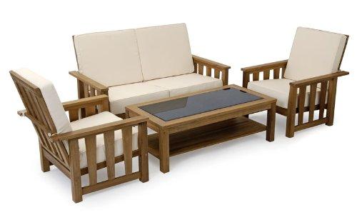 Garvida Forum-Palazzo- Set 4-teilig Echtholz TEAK/ Tischplatte Granit Markenqualität von Landmann jetzt kaufen