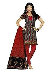 Araham Dark Grey Printed 100% Cotton Unstitched Salwar Suit Dress Material