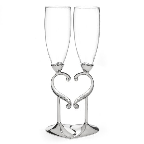 Hortense B. Hewitt Champagne Toasting Flutes Wedding Accessories, Linked Love, Set Of 2