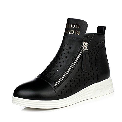 Sneaker Lederstiefel/Flache beiläufige Damenstiefel/STIEFEL/Frühling Einzel Stiefel/Martin Stiefel-D Fußlänge=21.8CM(8.6Inch)