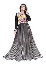 AVSAR PRINTS Women's Georgette Dress Material (Black)