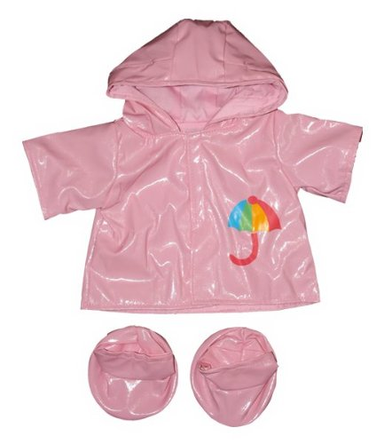 "Pink Raincoat w/Boots Outfit Teddy Bear Clothes Fits Most 14"" - 18"" Build-A-Bear, Vermont Teddy Bears, and Make Your Own Stuffed Animals"