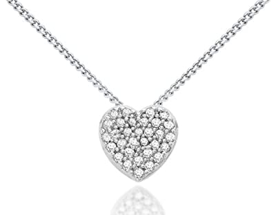Carissima 9ct White Gold 0.10ct Diamond Heart Slider Pendant on Chain Necklace 46cm/18""