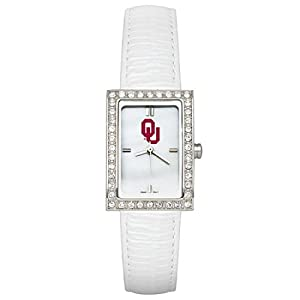 CZNSW22436Q-w-White Leather University of Oklahoma Watch W  Cz Frame by NCAA Officially Licensed